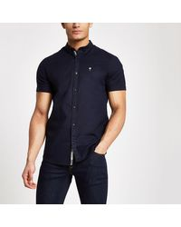 River Island Navy Muscle Fit Short Sleeve Oxford Shirt - Blue