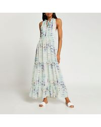 River Island Blue Tie Dye Print Maxi Dress