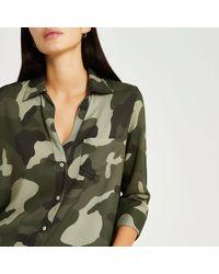 River Island Camo Print Shirt - Green
