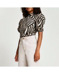 River Island Beige Zebra Print Puff Sleeve Top - Natural