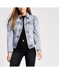 River Island Petite Puff Sleeve Mid Blue Denim Jacket