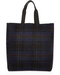 River Island Navy Check Reversible Shopper Bag - Blue