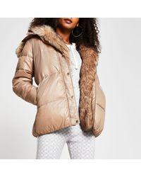 River Island Brown Faux Fur Hooded Puffer Coat