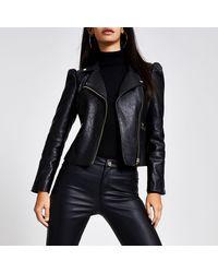 River Island Black Faux Leather Puff Sleeve Biker Jacket