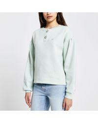 River Island Green 'rvr' Diamante Button Sweatshirt