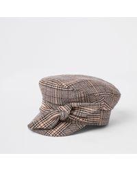 River Island - Brown Check Print Bow Baker Boy Hat - Lyst
