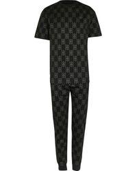 River Island Black Rr Foil Monogram Pyjama Set