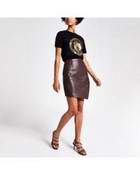 River Island Burgundy Asymmetric Leather Mini Skirt - Red