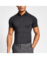 River Island Dark Gray Essential Muscle Fit Polo Shirt