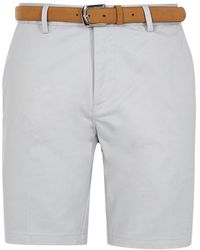 River Island Beige Belted Slim Fit Chino Shorts - Natural