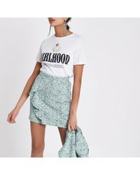 River Island - Green Frill Front Boucle Mini Skirt - Lyst