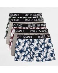 River Island Navy Palm Print Trunks Multipack - Blue