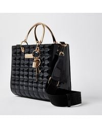 River Island Black Ri Boxy Quilted Tote Bag