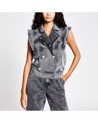 River Island Double Breasted Oversized Denim Gilet - Gray