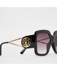 River Island Mega Glam Square Cut Out Sunglasses - Black