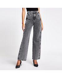 River Island Gray High Waisted Wide Leg Jean