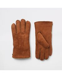 River Island - Suede Borg Lined Gloves - Lyst