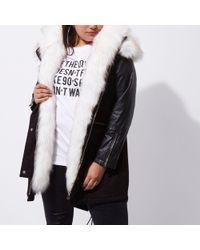River Island Plus Black Fur Collar Parka Coat