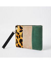 River Island Beige Leather Leopard Print Clutch Handbag - Natural