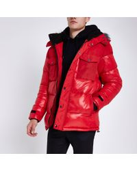 River Island - Red Faux Fur Trim Hooded Long Puffer Jacket - Lyst