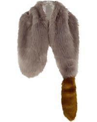 River Island - Grey Faux Fur Fox Tail Shawl Scarf - Lyst
