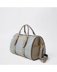 River Island Grey Ri Monogram Weekend Duffle Bag