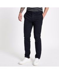 River Island - Navy Slim Fit Chino Trousers - Lyst
