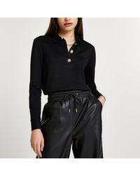 River Island Black Buttoned Long Sleeve Polo Shirt