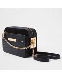 River Island Black Side Chain Boxy Cross Body Handbag