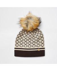 River Island Brown Ri Monogram Beanie Hat