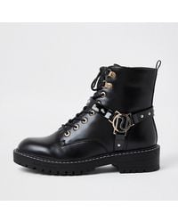 River Island Black Embellished Ri Chunky Lace Up Boots