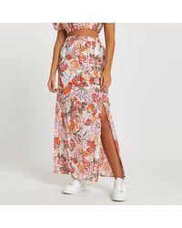 River Island Orange A Line Floral Maxi Skirt