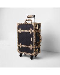 River Island Black Ri Embossed Snake Trim Trunk Suitcase Black Ri Embossed Snake Trim Trunk Suitcase