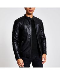 River Island Black Faux Leather Racer Jacket