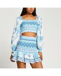 River Island Turquoise Shirred Crop Top With Sleeve - Blue