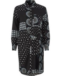 River Island | Navy Mix Tile Print Knot Front Shirt Dress Navy Mix Tile Print Knot Front Shirt Dress | Lyst