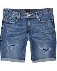 River Island Blue Ripped Skinny Fit Denim Shorts