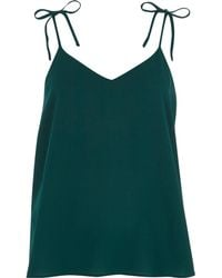 River Island - Teal Textured Bow Shoulder Cami Top - Lyst