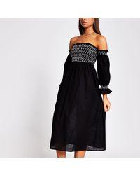 River Island - Black Cutwork Shirred Beach Dress - Lyst