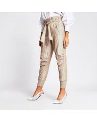 River Island Beige Paperbag Tie Waist sweatpants - Natural