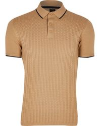 River Island Beige Textured Slim Fit Polo Shirt - Natural