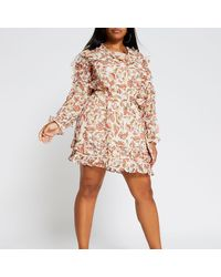 River Island Plus Pink Long Sleeve Frill Floral Dress