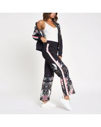 River Island Navy Oriental Print Wide Leg Tracksuit Bottom - Blue