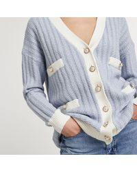 River Island Blue Tweed Knit Cardigan