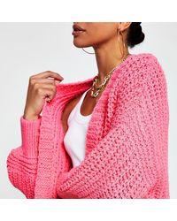River Island Pink Chunky Knit Ribbed Cardigan