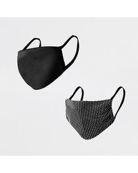 River Island Black Mesh Diamante Face Covering Pack Of 2