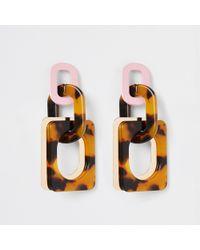 River Island - Tortoise Shell Rectangle Drop Earrings - Lyst