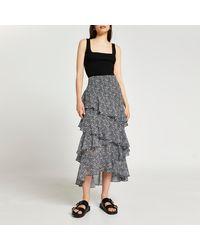 River Island Black Maxi Ruffle Skirt