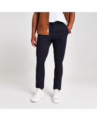 River Island Navy Stripe Skinny Trousers - Blue