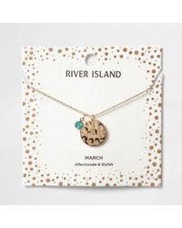 River Island - Blue Gem April Birthstone Necklace - Lyst